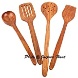 #3: Jaipuri Haat Hand made High Quality Mango wooden Serving and Cooking Spoon/spatula /Kitchen Utensil Set of 4