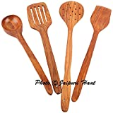 Jaipuri Haat Hand Made High Quality Mango Wooden Serving And Cooking Spoon/spatula /Kitchen Utensil Set Of 4