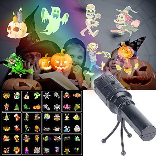 Christmas Lights Projektor, LED Tragbare Taschenlampe Mit 12 Muster Folien Und Stativ Mit Wiederaufladbaren Akku Für Party, Geburtstag, Weihnachten, Halloween Taschenlampe