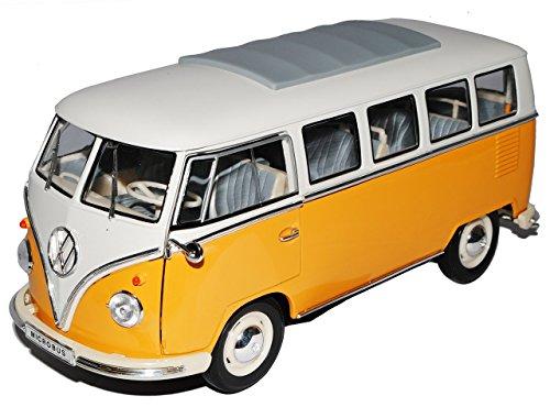 VW Volkswagen T1 Orange Gelb Weiss Samba Bully Bus 1950-1967 1/18 Welly Modell Auto mit individiuellem Wunschkennzeichen