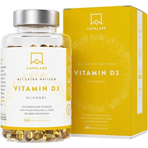 Hochdosiert Vitamin D3 [ 5000 IE ] Depot von Aava Labs - mit Extra Virgin Olivenöl für optimale Absorption - Frei von Gentechnik, Gluten und Laktose - Unterstützt Knochen-, Muskel- und Immunsystemfunktion - 365 Softgel-Kapseln.