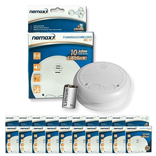 10x  Nemaxx WL10 Funkrauchmelder - mit 10 Jahre Lithium Batterie Rauchmelder Feuermelder Set Funk...