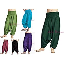 Handicraftofpinkcity LOT of 5 PCS Indian Hippie Yoga Trouser Soft Comfortable Alibaba Pants Women Indian Plan Harem Trouser Pant Yoga Wear Pants Wholesale Lot