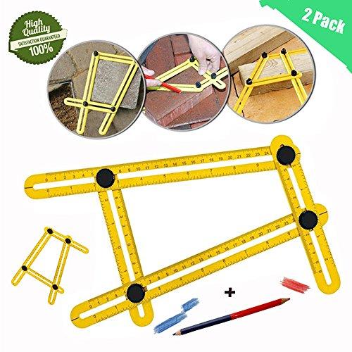 Angleizer Vorlage Werkzeug, Morbuy Gelb Falten Multi-Winkel Mess-Lineal Mess- & Planwerkzeuge General Angleizer Vorlage Lineal für Handymen Heimwerker Builders (2Pack)