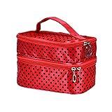 Setsail Polka Dot gedruckt Doppelschicht große Kapazität Kosmetiktasche Aufbewahrungstasche Mode personalisierte Kosmetiktasche Federmäppchen (Rot)