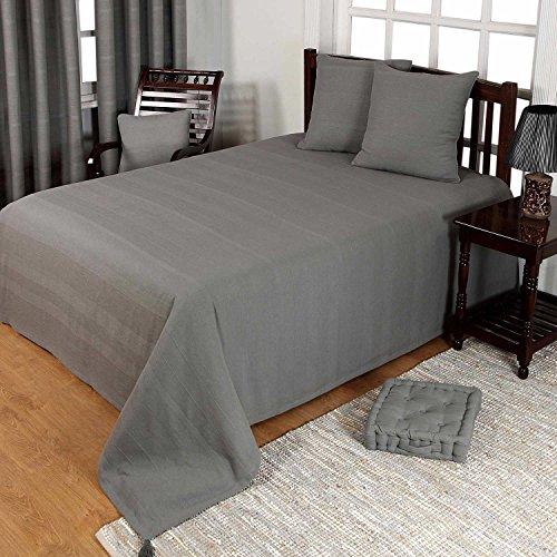 Homescapes waschbare Tagesdecke Sofaüberwurf Plaid Rajput 150x200 cm in Ripp-Optik Bettüberwurf aus 100% Baumwolle in grau