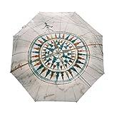COOSUN Alte Weinlese-Seekarte und Kompass Automatic 3 Folding Sonnenschirm-Regenschirm Farbe # 001