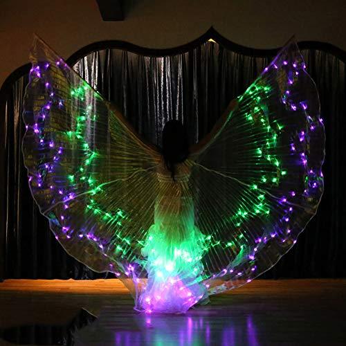 Glow Stick Kostüm - Bauchtanz LED Isis Wings Glow Leuchten Kostüme Mit Sticks,B