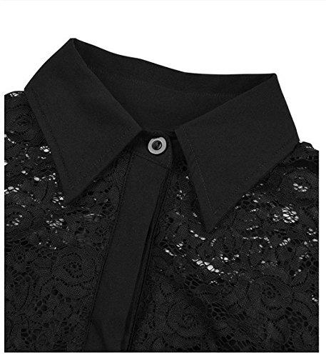 Smile YKK Femme Rétro Robe Dentelle Haute Taille Moulante Elégante Noir