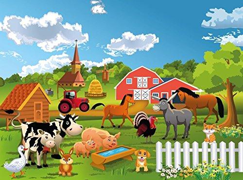 Fototapete BAUERNHOF-(71p)-Größe 350x260cm in 7 Bahnen-Inkl. Kleister-PREMIUM-Photo-Tapete XXL Foto-Mural Bild Poster Kinder-Zimmer Tiere City Skyline Amerika USA Rosen Japan Italien
