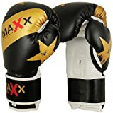 Maxx black gold star boxing gloves Rex leather 8oz - 16oz
