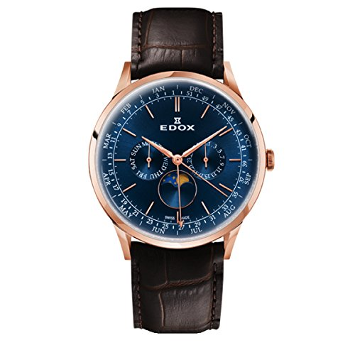 EDOX Men's Analogue Quartz Watch with Leather Strap 40101-37RC-BUIR