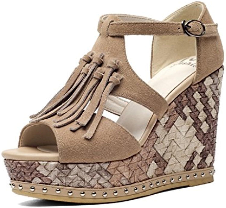 SANDALI Sexy Peep Toe Zeppe Estate Comodo Tassel Tacco alto scarpe da donna (Coloreee   Marronee, dimensioni   37) | Prestazioni Superiori  | Maschio/Ragazze Scarpa