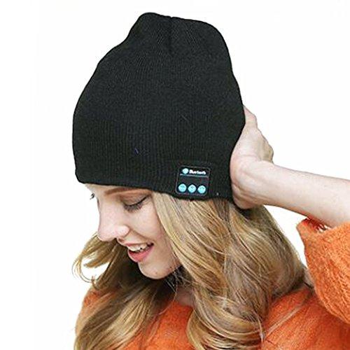 YTAT Cappello auricolare Bluetooth wireless Bluetooth musica di Bluetooth Knit Hat Bluetooth-Cappello per Fitness, ciclismo, pesca, escursionismo, sport all'aperto Beanie Cappellino lavabile Crochet Baggy Bluetooth Beret (Nero)