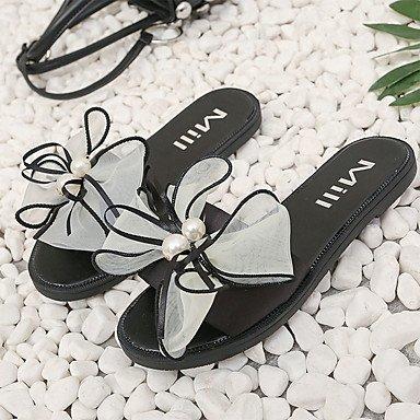 zhENfu Donna Sandali Comfort PU esterna di estate passeggiate perla fiore tacco piatto Bianco Nero Rosso Blu Rosa arrossendo sotto 1in White