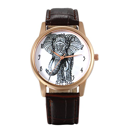 Lancardo Reloj Analógico con Correa de Cuero Dial Decorado con Elefante Número Árabes Movimiento de Cuarzo Pulsera Electrónica Impermeable de 10M Casual para Mujer Dama (Marrón)