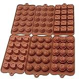 BAYTTER® 6 tlg. Backform Pralinenformen Set Silikon Herzform Silikonbackform für Muffin Pralinen Schokoladen 21,5 x 11 cm, von - 60° C bis + 260° C temperaturbeständig