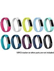 Pulsera para Fitbit, recambio para pulsera de actividad, de silicona con hebilla de seguridad para el reloj, .10 Colors Pack, small