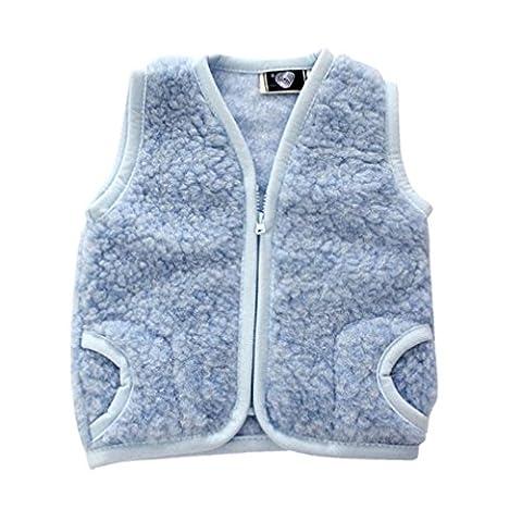 Kinderweste Baby Weste 100% Merino Wolle Schafswolle blau Gr. 1-3 Jahre