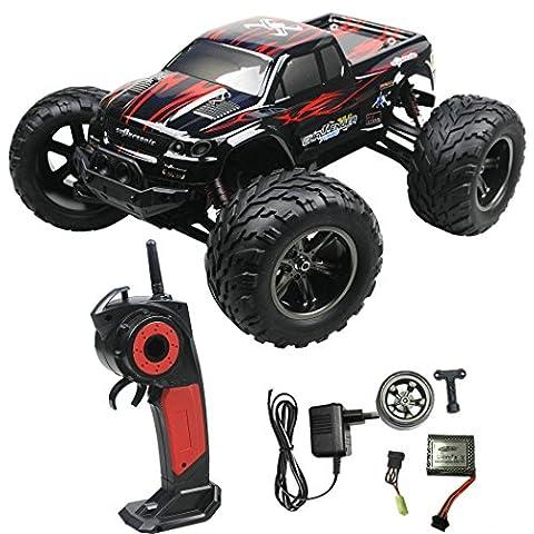 2.4GHz 35MPH Ferngesteuertes Auto Truck Lastkraftwagen Buggy Truggy Fels Kriecher Schnelle Geschwindigkeit High Speed RC Car (Red)
