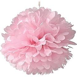 Juego de 10pompones rosas colgantes. Distintos tamaños a elegir.