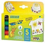 Kreul 90710 - Javana Texi Mäx Sunny Stoffmalstifte für helle Stoffe, mit unempfindlicher Rundspitze ca. 2 - 4 mm, 5 Stifte in gelb, rot, blau, grün und schwarz