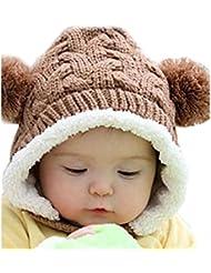 Malloom® Invierno del bebé lindo cálido bolas de doble muchacha muchachos Tejer lana Sombrero (café)