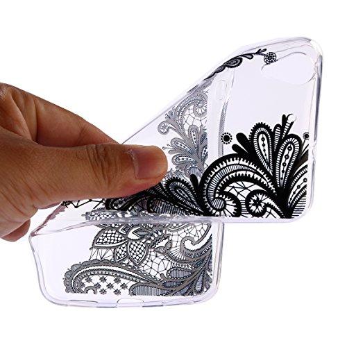 Coque Huawei Y6 II,Surakey Etui Housse Silicone Transparent pour Huawei Y6 II Coque de Protection en TPU Bumper et Anti-Scratch avec dessin animé Motif (Noir Mandala Fleur)
