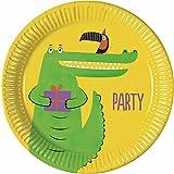 PROCOS 90556 - Platos de cartón para Fiestas (8 Unidades), diseño de cocodrilo, Color Amarillo y Verde