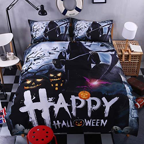 Bolony Kürbis-Laterne 3D Druck Bettbezug-Set, 4-teilig, Bettwäscheset mit Reißverschluss, für Erwachsene, Kinderzimmer, Halloween-Dekoration, Grim Reaper, Duvet Cover: 1.8 x 2.2 cm