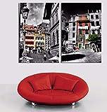 DMPro Edificio residenziale Città Paesaggio Pittura Stampato su Tela Poster a Due Pezzi Modern Home Living Room Quadri 50x75cm Senza Cornice
