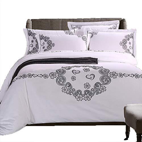 QYZLT Bedruckte Baumwollbettdecke Eleganter Bettbezug mit superweichem Stickgarn Doppelte Tagesdecke mit Reißverschluss Weißes Besticktes Bettdecken-Set -