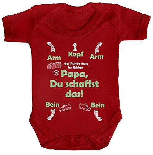 Fußball WM EM Strampler Bio Baumwoll Baby Body kurzarm Jungen Mädchen Fussball Papa du schaffst das, Größe: 12 - 18 Monate,Red