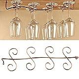 BESTIM INCUK Under Cabinet Wine Glass Rack Stemware Holder for Home Bar, Holds up to 8 Glasses, Brass Color