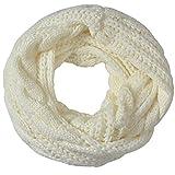 Miobo Zopfmuster Stricken Loopschal Wolle warmen Winter Dicke Schal Schleife Kreis Schal Gestrickte Rundschal Schlauchschal (Weiss)