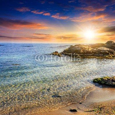 "Poster-Bild 40 x 40 cm: ""calm sea with waves on sandy beach at sunset"", Bild auf Poster"