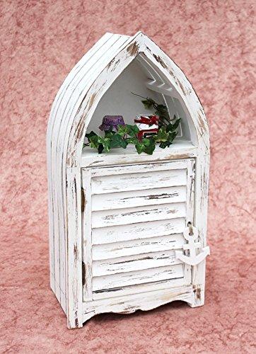 DanDiBo Schrank in Weiß Vintage Bad Klein Regal 1200011 S 60cm Badregal Shabby Badschrank Badmöbel Bootsform