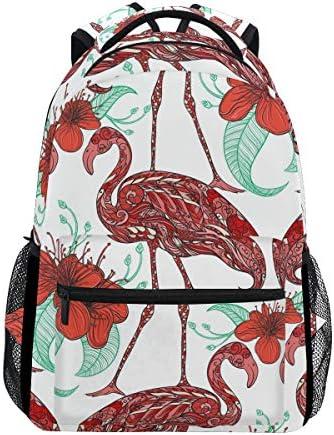 Ahomy Sac à Dos d'école Sac Livre pour Adolescent Filles garçons, Tropical Flamingo Fleur Sac à Dos de Voyage Sacoche Sac de ran ée pour Homme ou Femme B07HGWRNY3 | Exquis (en) Exécution