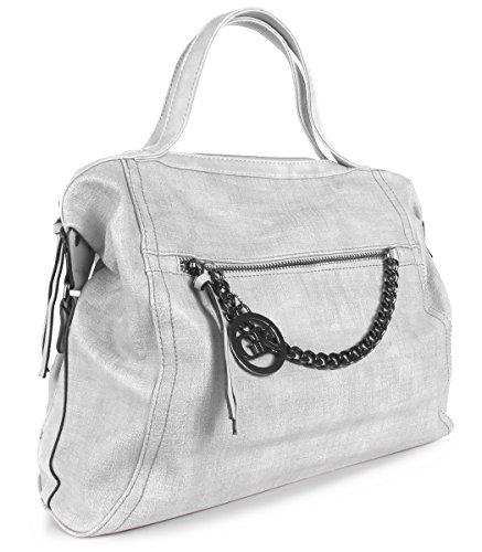 Lovely Lauri Vintage Bag Handtasche Beuteltasche Kette breit Damen Tasche Weiss