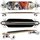 FunTomia Freerider Cruiser Longboard mit Mach1® High Speed Kugellager - Länge: 107cm - Breite: 25cm - Höhe: 11cm (Farbe Rot/Weiß Satellite)