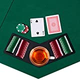 COSTWAY 1.2M   48 Inches Folding Poker Table Top with Chip Trays and Drink Holders, Available for 8 Players, Black Bag for Easy Carry, Foldable for Space Saving, Upgrade Lint Surface & PVC Back