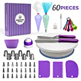 Cake Decorating Supplies Kit, 60pcs - Rotating Cake Stand, 8 Russian Piping Tips