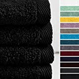 Lumaland Premium 4er Set Handtücher 50 x 100 cm aus 100% Baumwolle 500 g/m² mit Aufhänger schwarz