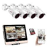 ANRAN POE Überwachungskamera System Set,4Channel 12inch LCD-Videogerät NVR-Kit 1 TB Festplatte mit 4 HD 1080P Überwachungs-IP-POE-Kameras 100ft Nachtsicht Indoor Outdoor,Freie Remote Ansicht