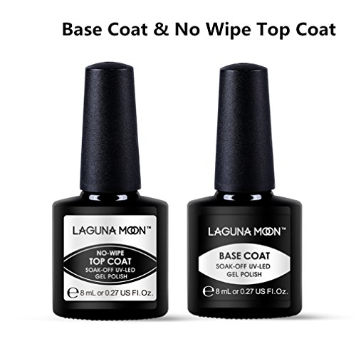 Lagunamoon Gel Nail Polish Base Coat and No Wipe Top Coat Soak Off Gel Polish UV LED Nail Varnish Manicure Set