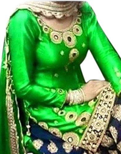 Varona Creation Women\'s Cotton Straight Unstitched Patiala Salwar Suit - VC035_Green_Free Size