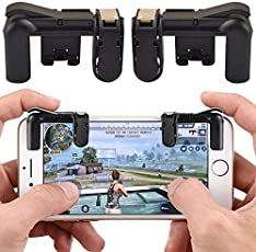 Reiz PUBG Fortnite Mobile Controller - Mobile Game Controller, Cellphone Game Trigger, Battle Royale L1R1 Sensitive Shoot (Black or Transparent)