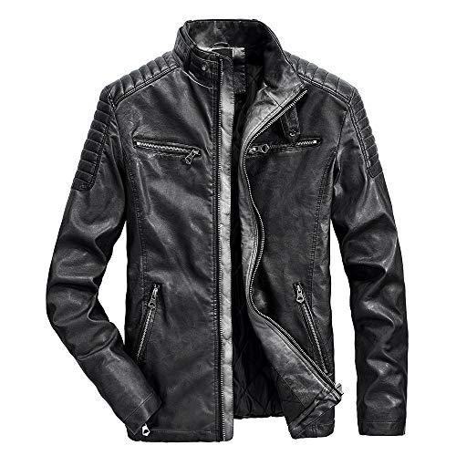 TWBB Herren Winter Mantel Warme Thermal Leder Outwear Windjacke Kraftfahrzeug Bekleidung Slim-Fit Biker Vintage Fliegendes Jacket Stehkragen Mantel Mit Reißverschluss