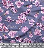 Soimoi Lila Seide Stoff Orchidee Blumen- Dekor Stoff