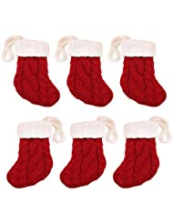 6PCS Mini Xmas Knitted Santa Sock Style Silverware Knife Fork Spoon Tableware Holder Pocket Bags Christmas Decorations